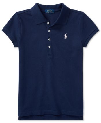 d0319dc5 Polo Ralph Lauren Big Girls Stretch Mesh Polo Shirt - White L (12/14)
