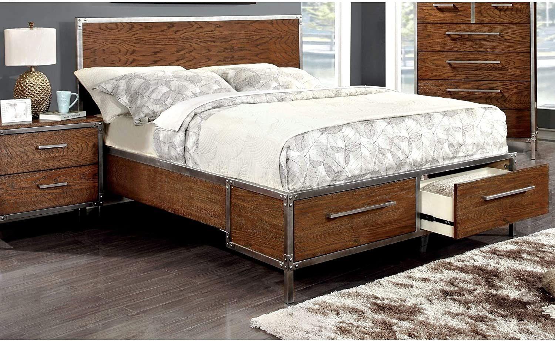 Industrial dark oak platform bed with drawers includes
