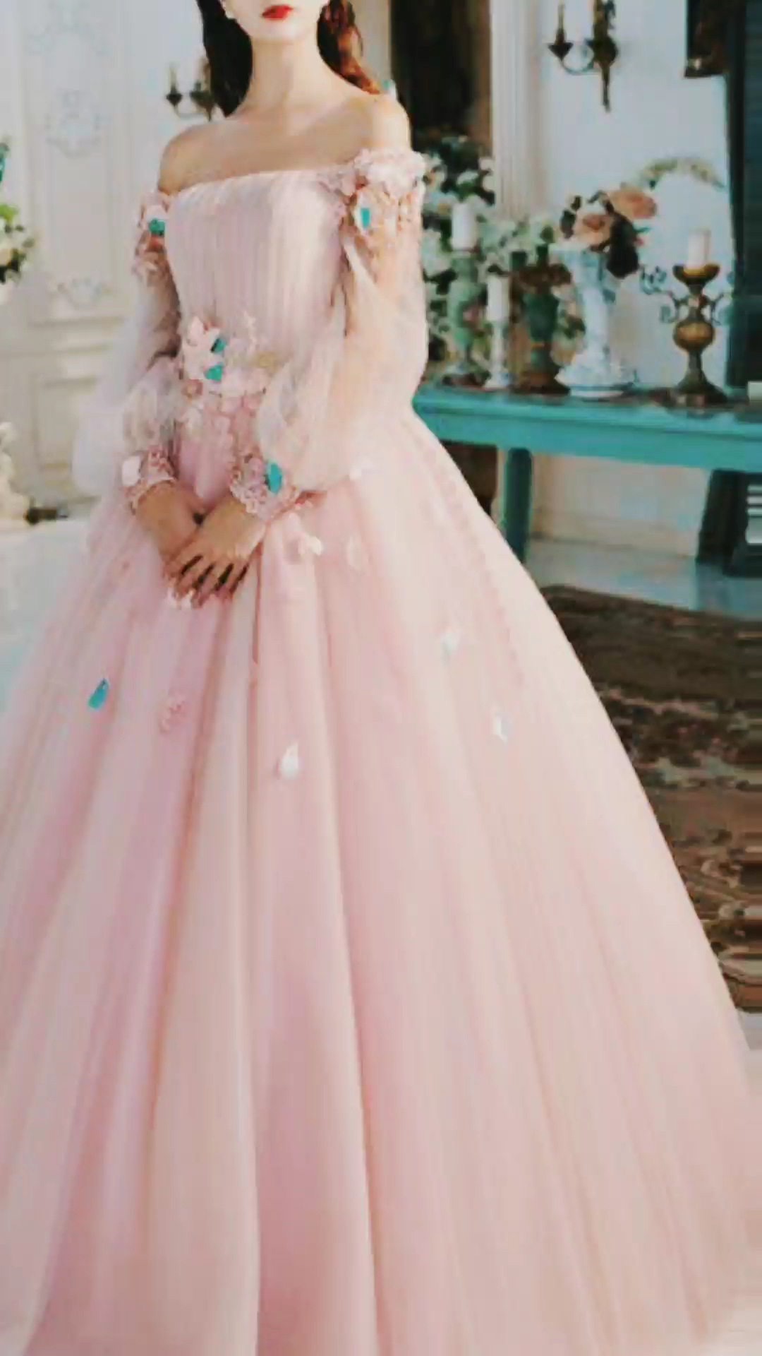 5fb9379f2b5 A Line Long Sleeve Pearl Pink Ball Gown Off the Shoulder Long Floral ...