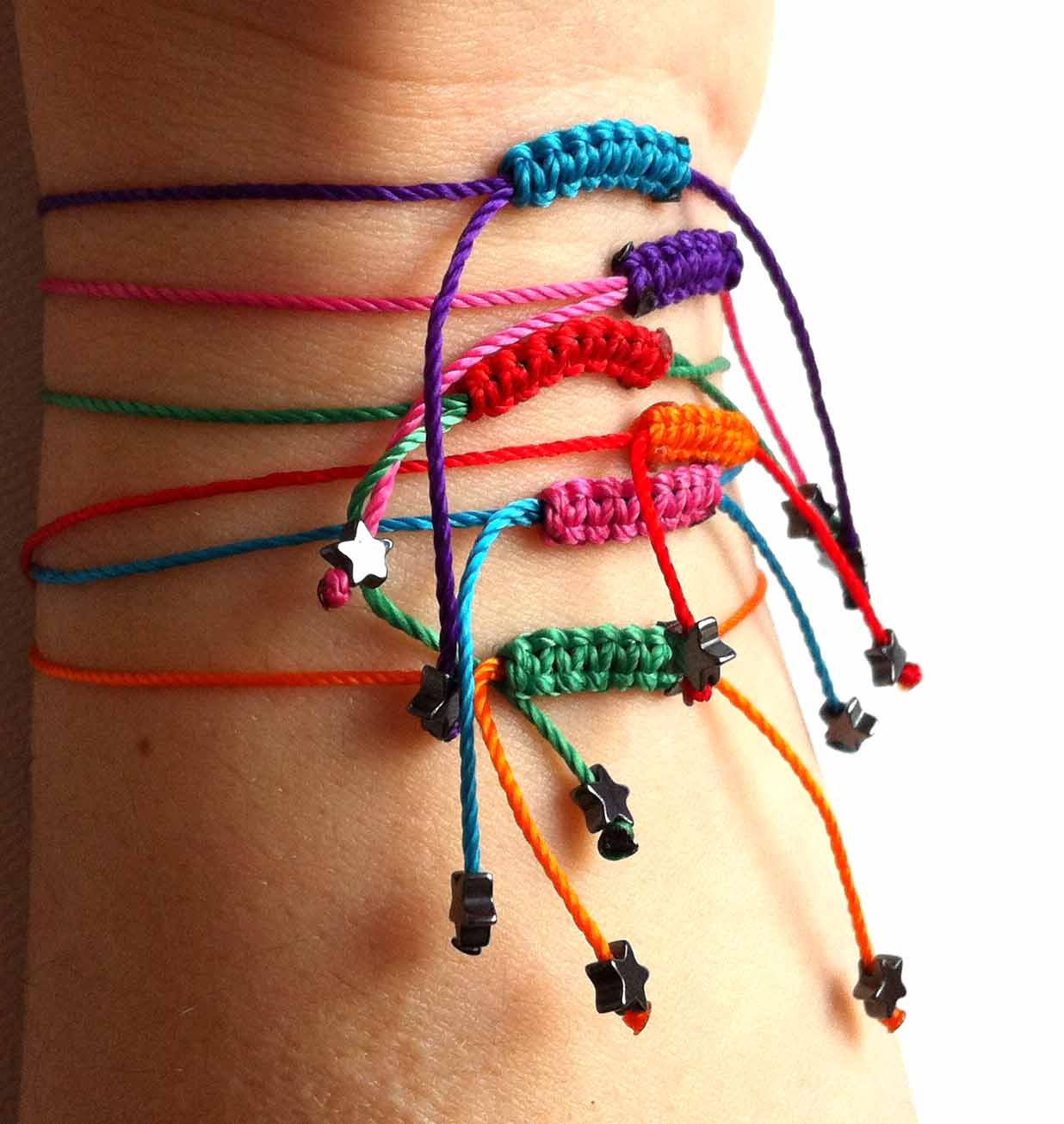 Star friendship bracelets with star stone silk thread bracelets