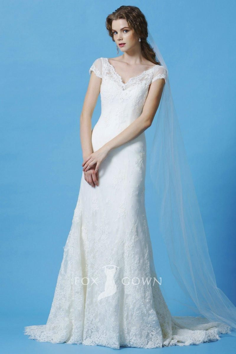 Timeless lace overlay cap sleeve vneck aline flower wedding dress