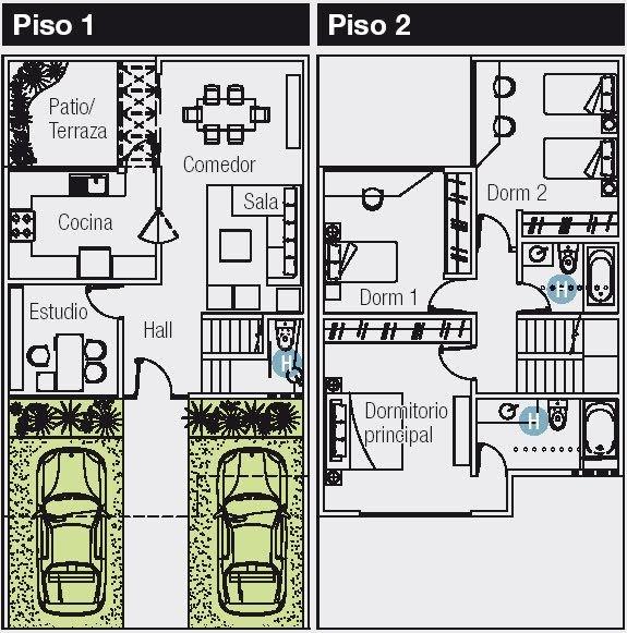 Planos de 120 m2 cuyo terreno es de 8 m de frente por 15 m for Planos de casas de un piso