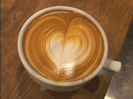 Learn how to create a latte heart for your sweet heart