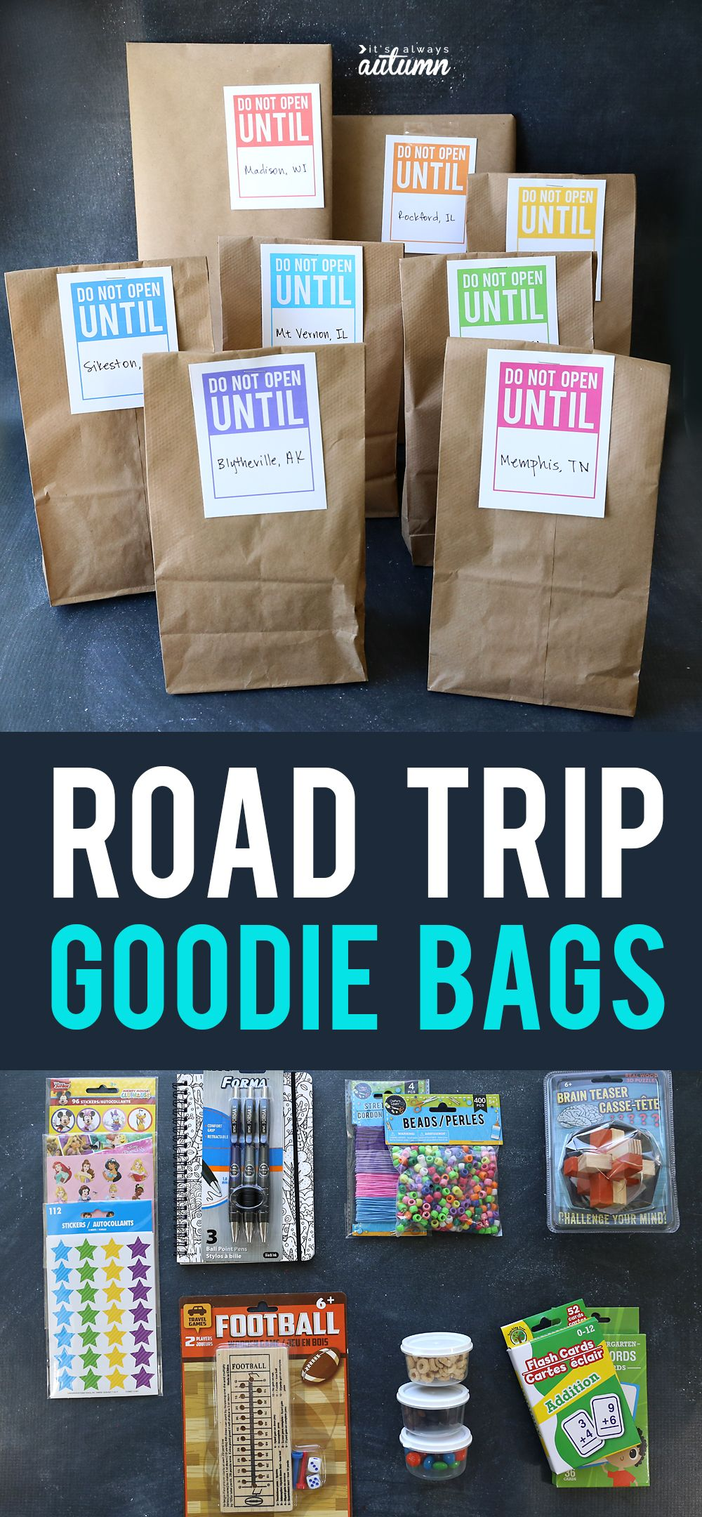 Road trip goodie bags: keeps kids occupied + count down the trip #kids