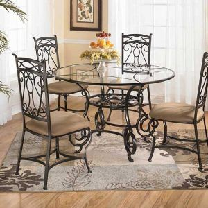 Gl And Wrought Iron Kitchen Table Sets