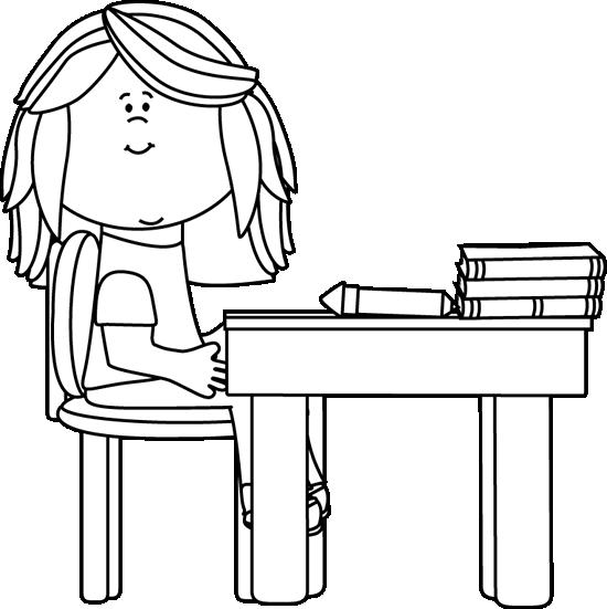 Black And White Black And White Little Girl At School Desk Clipart Black And White Kids Clipart Clip Art