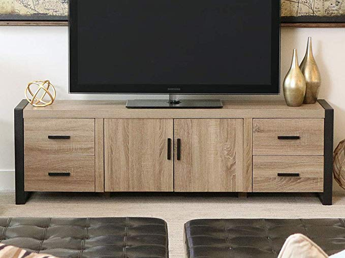 Amazon Com We Furniture 70 Industrial Wood Tv Stand Console Driftwood Gateway Tv Stand Wood Tv Stand Wood Tv Console