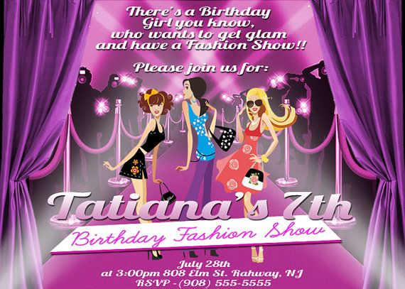 Fashion Show Party Invitation File 5x7in by JohnQGraphicDesign