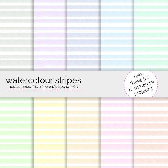 Watercolour Stripes Digital Paper Pack Seamless Patterns