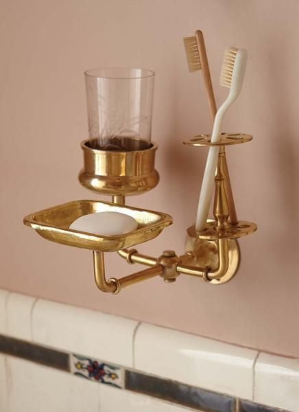 Photo of Solid brass bathroom trio wall holder design by Sir / Madam