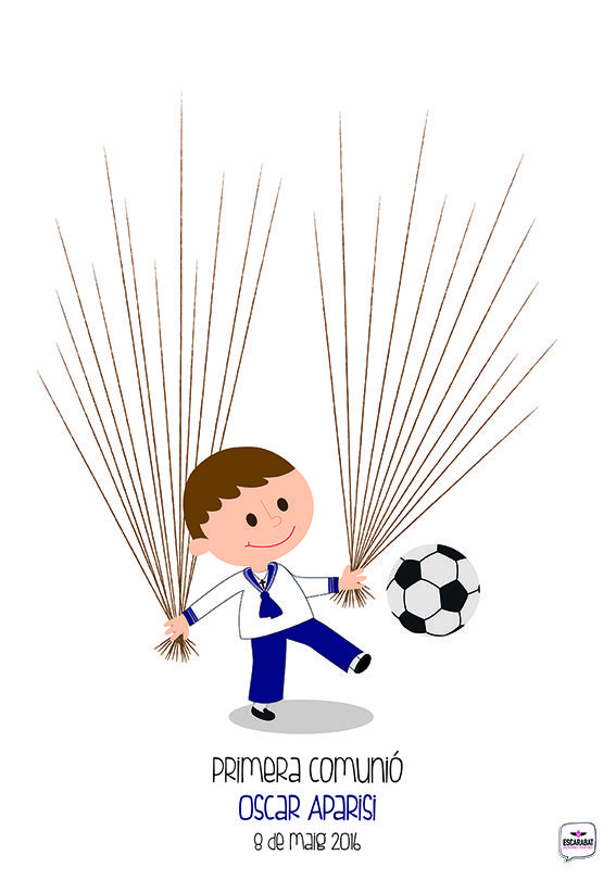 Cuadro De Huellas Estilo Futbolero Comunion Nino Arbol De Huellas Comunion Recuerdos Comunion