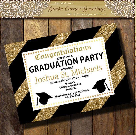 GLITTER Graduation Invitation Gold Black by GooseCornerGreetings