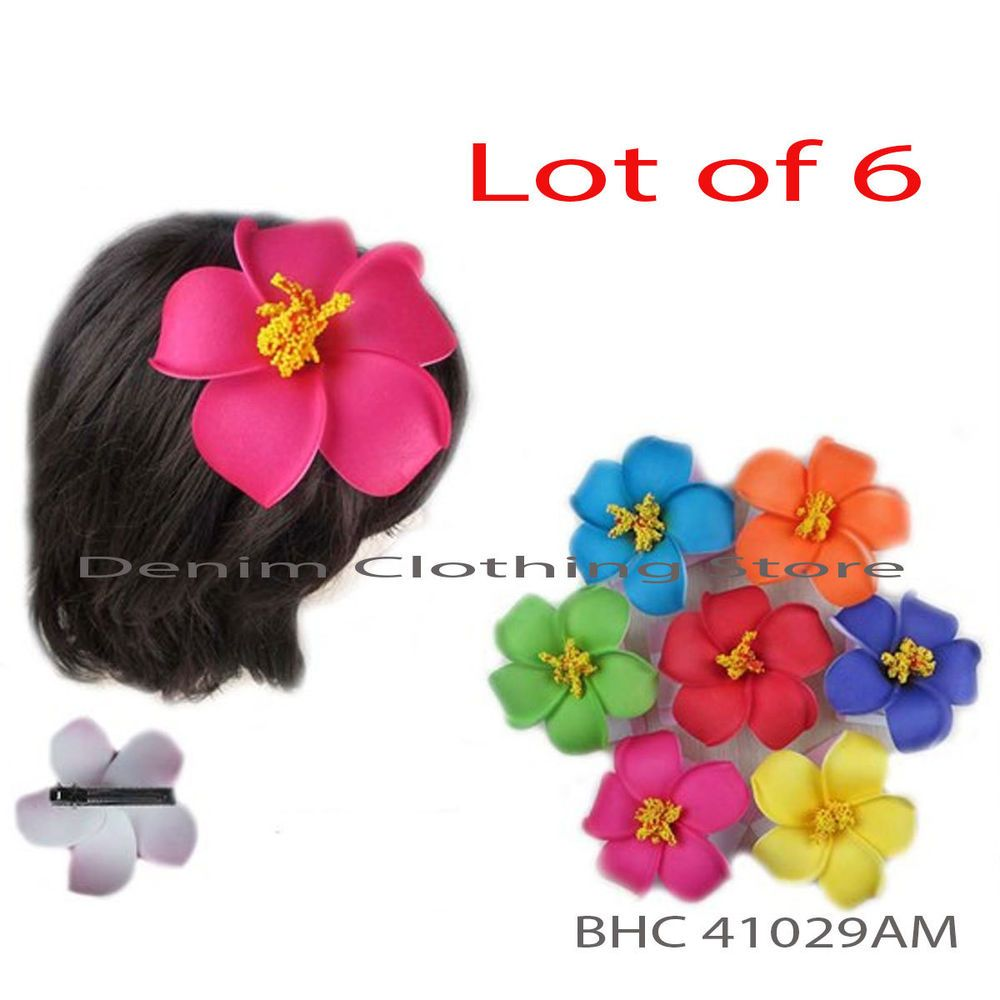 Lot 6 hawaiian flower hair clip accent bridal wedding party foam lot 6 hawaiian flower hair clip accent bridal wedding party foam flower 4 izmirmasajfo Image collections