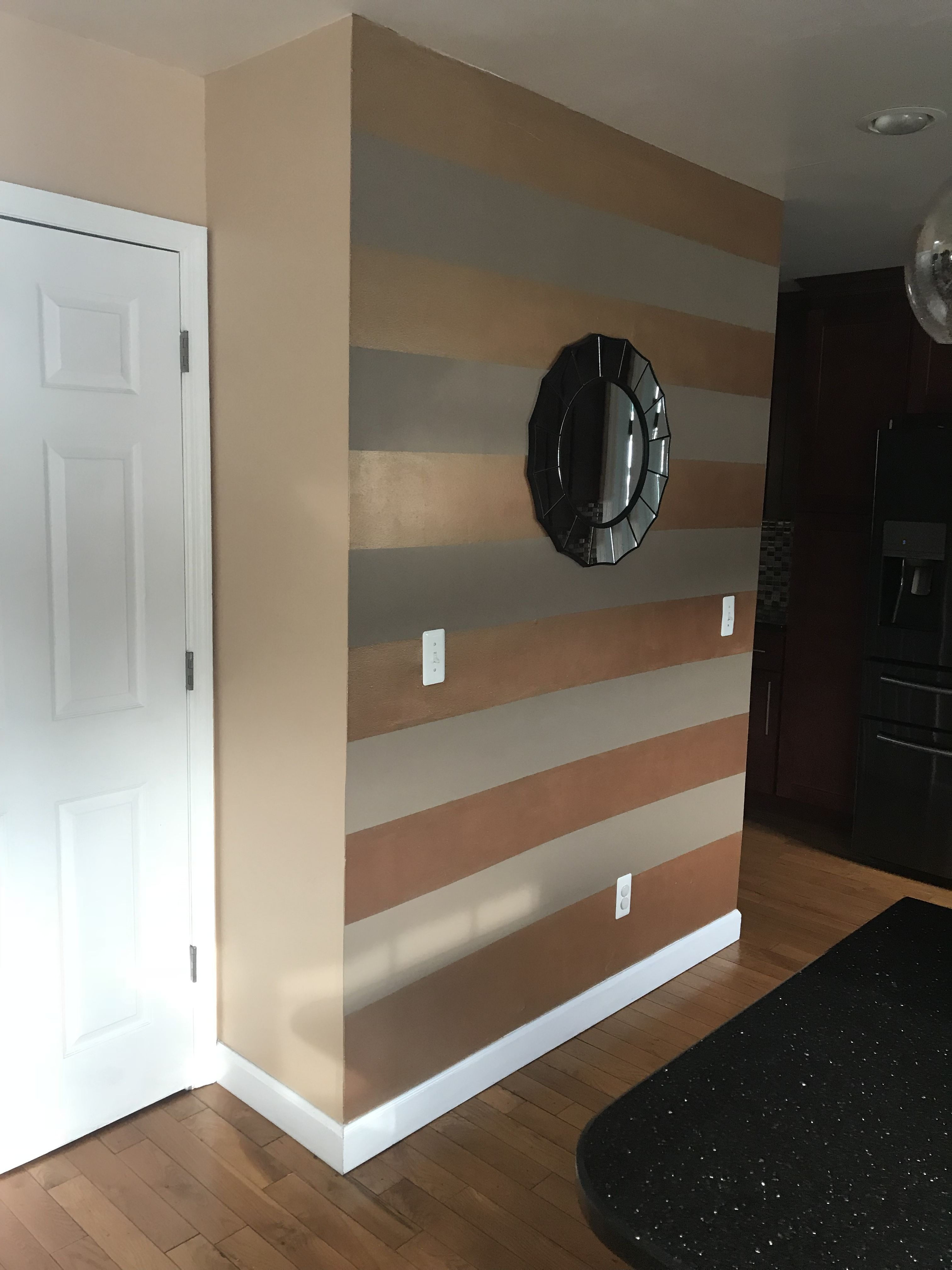 Diy Striped Accent Wall With Gray White Stripes Lolly Jane