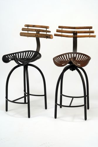 By Patrick Plourde | Tractor Seat Stools; Vintage Found Steel Objects,  Steel Spring, Wood