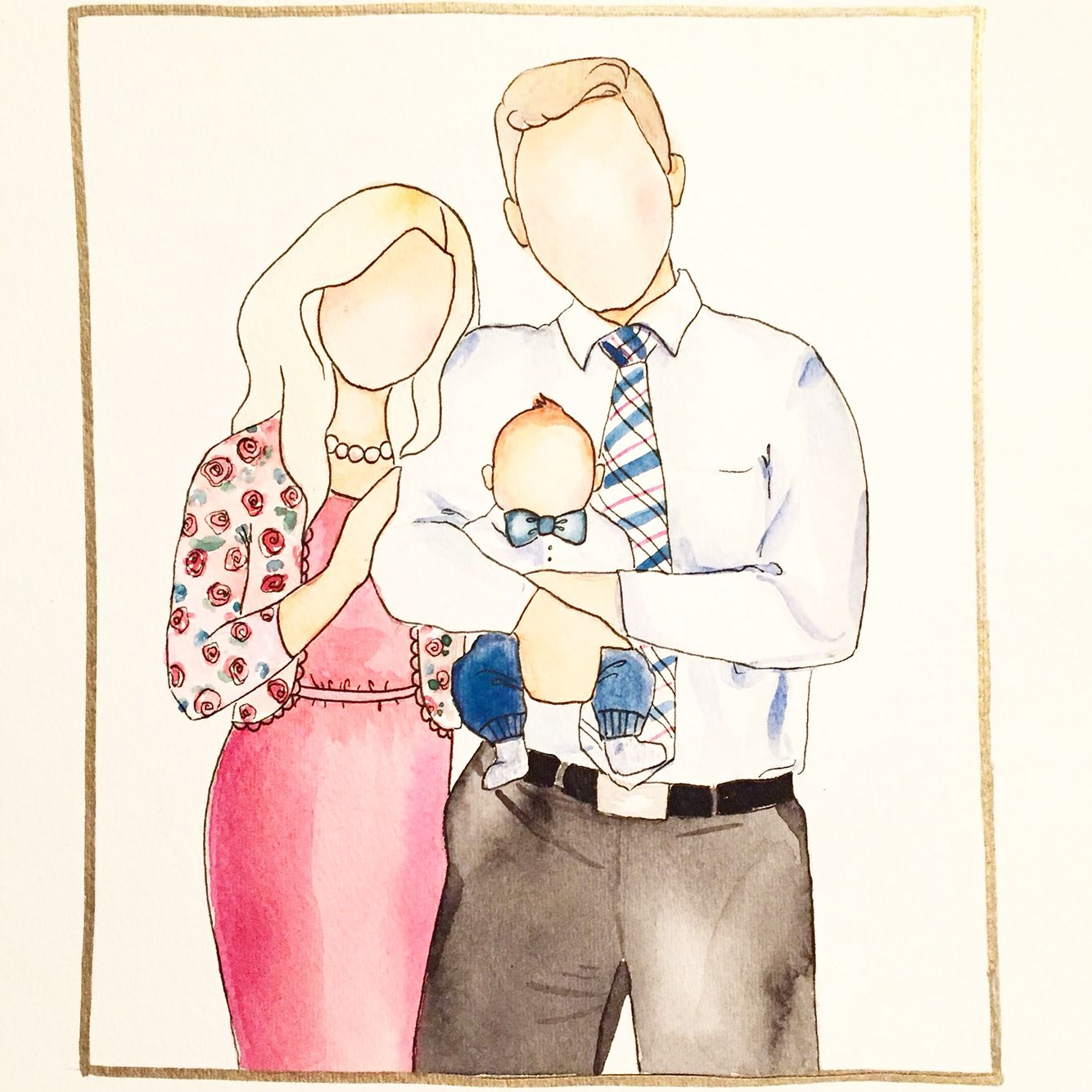 Family of three $30 and up for Custom watercolor faceless family paintings by…