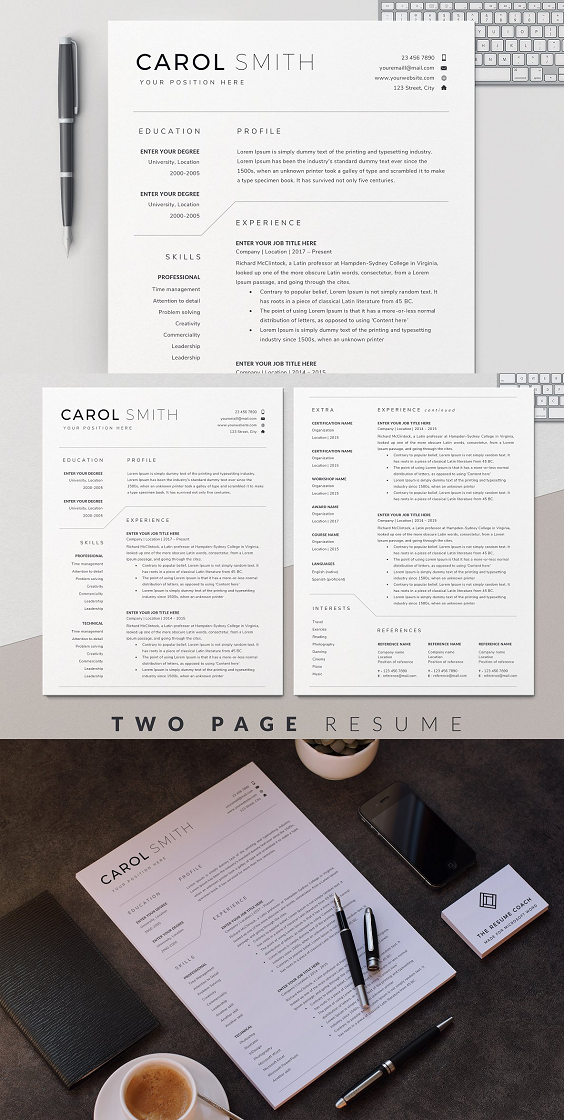 Cv Template For Word Resume design template, Resume