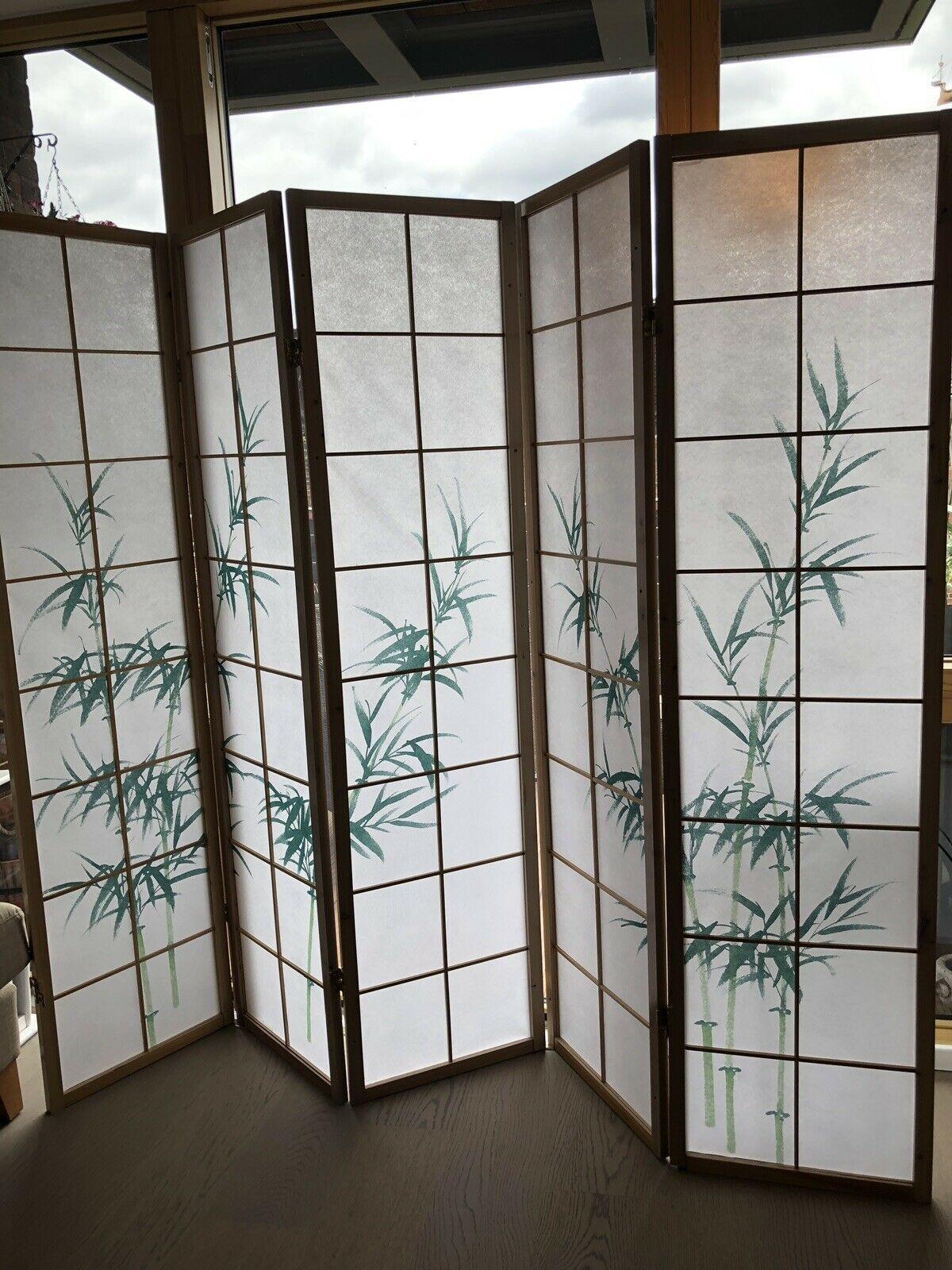 Beautiful 5 Panel Japanese Style Shoji Bamboo Screen Room Divider
