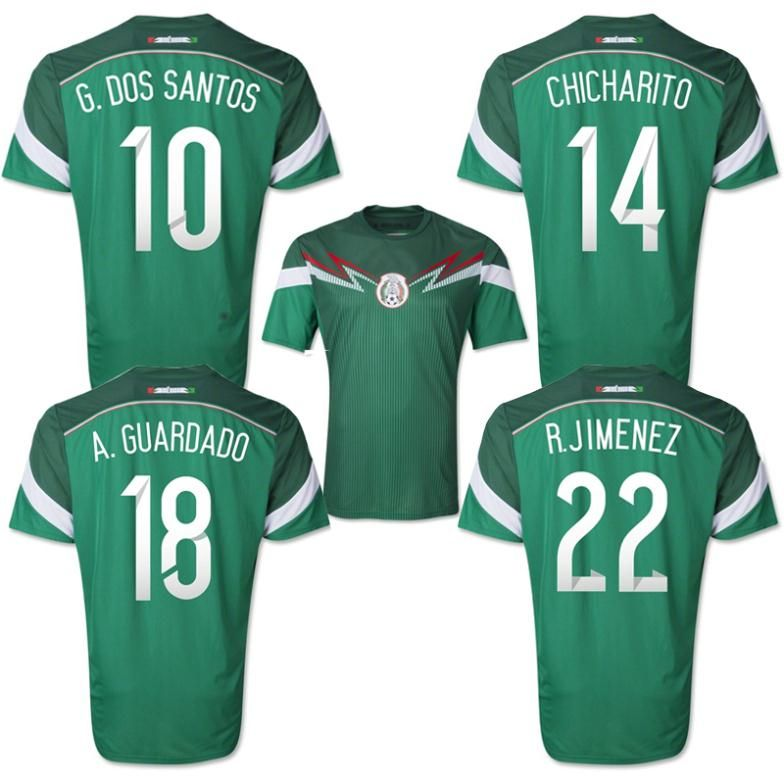 f82a0e074 ... Away Soccer Jersey Top A+++ original grade 2014 World Cup Mexico  Homedos Santos Chicharito Guardado soccer jersey football jersey ...