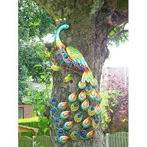 Colourful Metal Peacock Garden Décor Jewel Tail Wall Art Christmas Gift  Outdoor | EBay