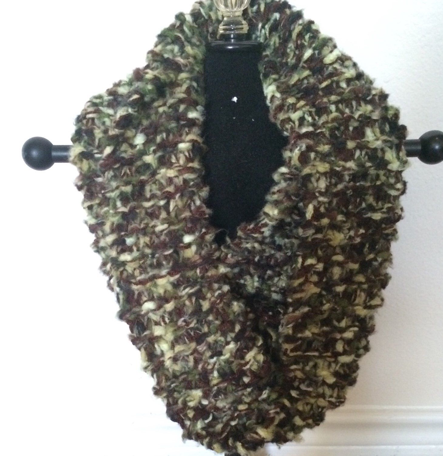 Hand Knitted Camo and Brown Soft Infinity Scarf  by KnittingQueen2013 on Etsy https://www.etsy.com/listing/208314989/hand-knitted-camo-and-brown-soft