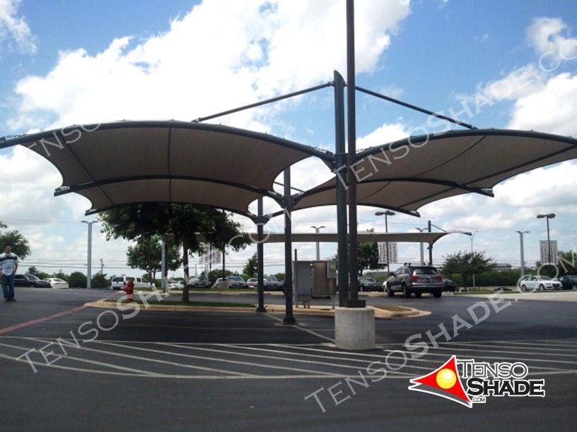 Ocean Full Cantilever Curve Interlocking Shade Structure Carports Tensoshade San Antonio Tx