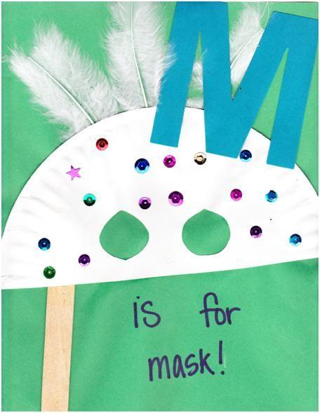 M is for Mask | Kids Preschool Ideas | Preschool letter crafts