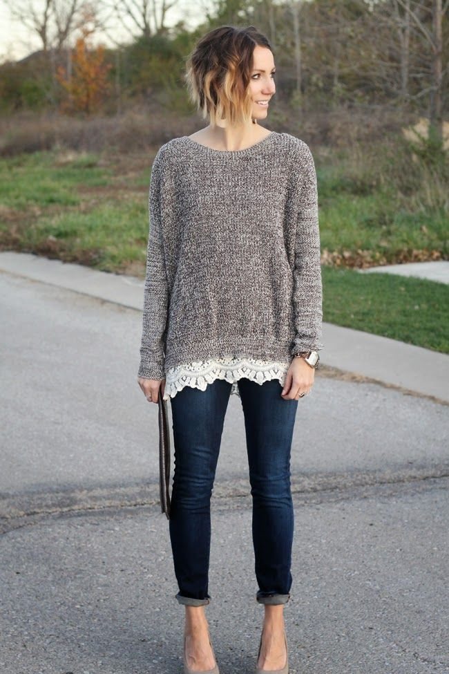 Lace trimmed sweater, Nickel & Suede Nude Leather earrings | *what ...