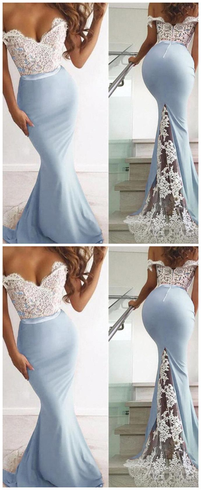 Light Blue Lace Mermaid Off the Shoulder Long Bridesmaid Dresses Honor of the Bridesmaid Dress