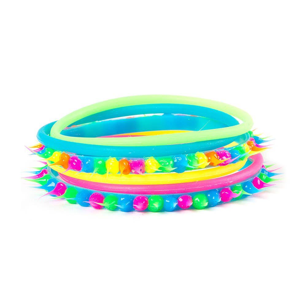 Neon Rainbow Rubber Spike Bracelets Set of 6