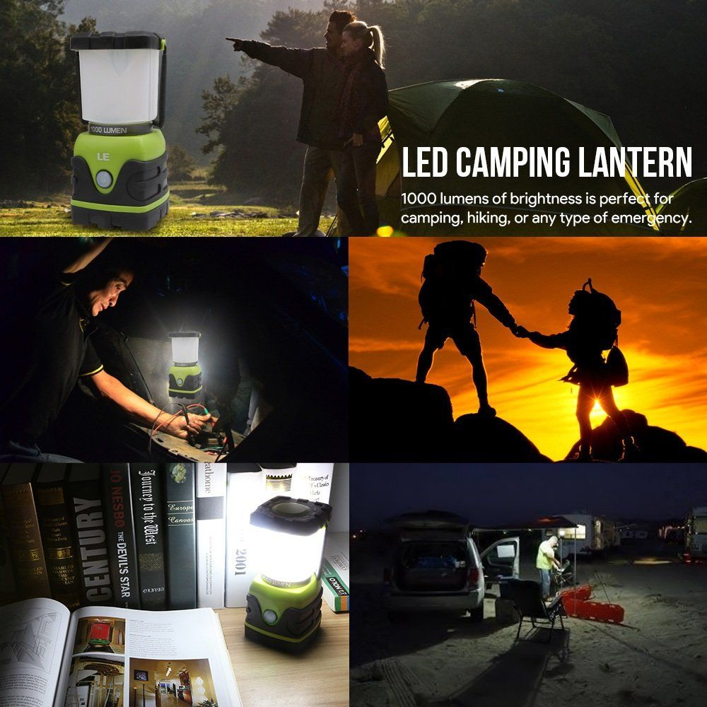 4 Modes Battery-Powered Emerg LE Camping Light 1000 Lumen Outdoor LED Lantern