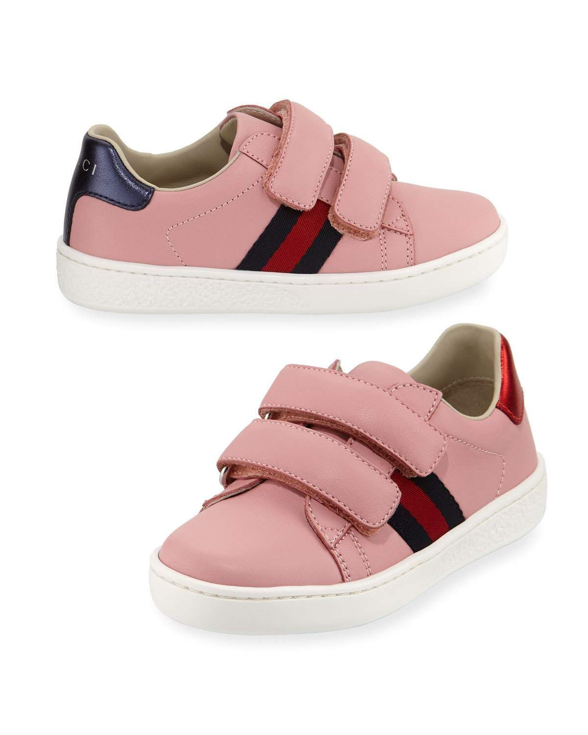 Aceweb gucci new ace web-trim leather sneaker, toddler | products