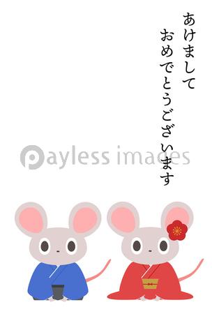 シンプルでかわいいネズミの年賀状イラストの写真・イラスト素材