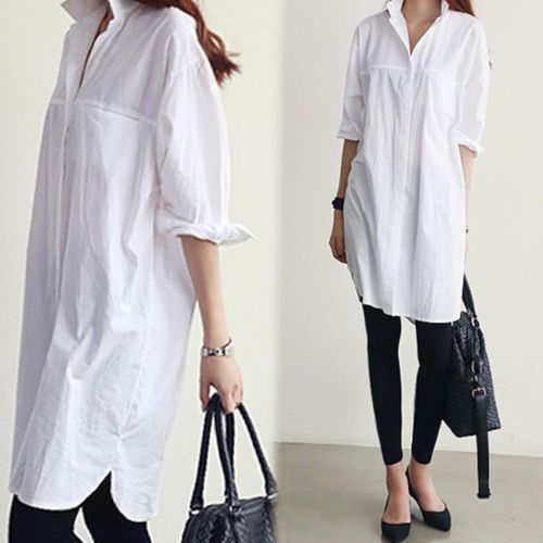 Women Classic Button Down Lapel Loose Cotton Top Blouses Casual ...