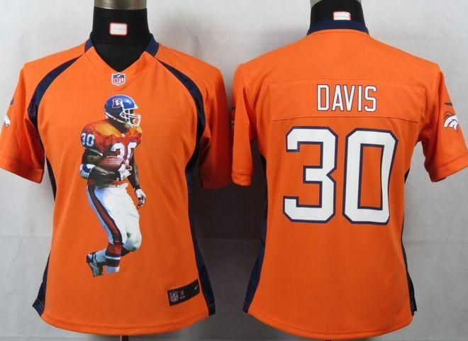 Nike Broncos  30 Terrell Davis Orange Team Color Women s Portrait Fashion  NFL Game Jersey f9ac969bc