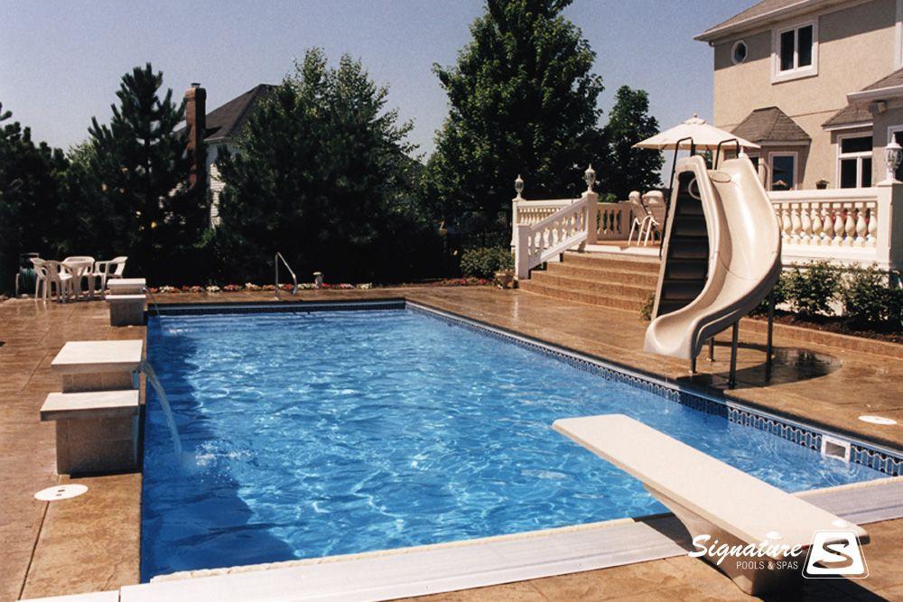 Retangular Pool With Slide And Diving Board Fiberglass Pools