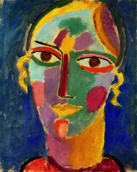 Mystical Head Female Head On A Blue Background Ca 1912 By Alexej Von Jawlensky Art Painting Expressionism Painting
