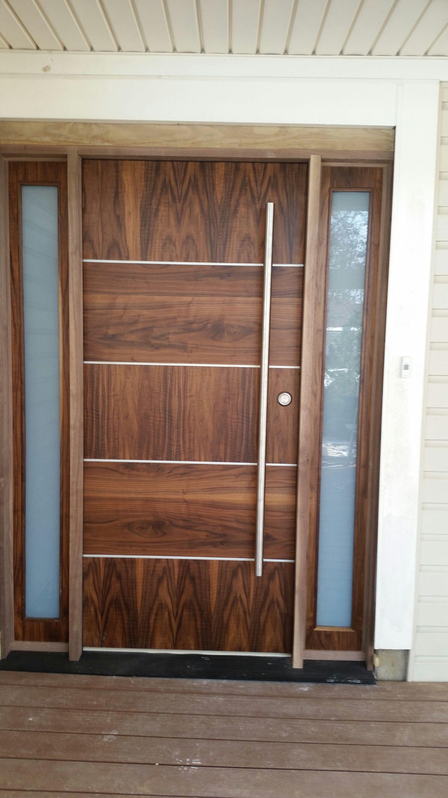 Beautiful Walnut Solid Core Exterior Door With Sidelights Modern
