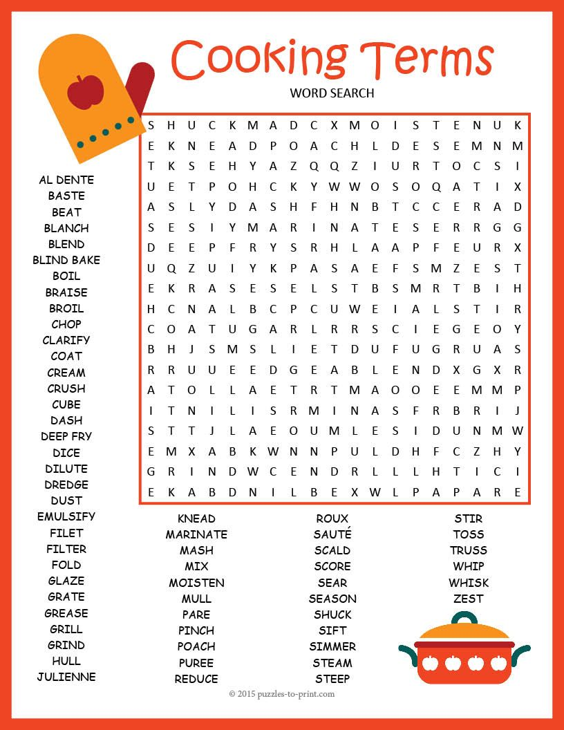 Worksheets Basic Cooking Terms Worksheet cooking terms word search puzzle puzzles early puzzle