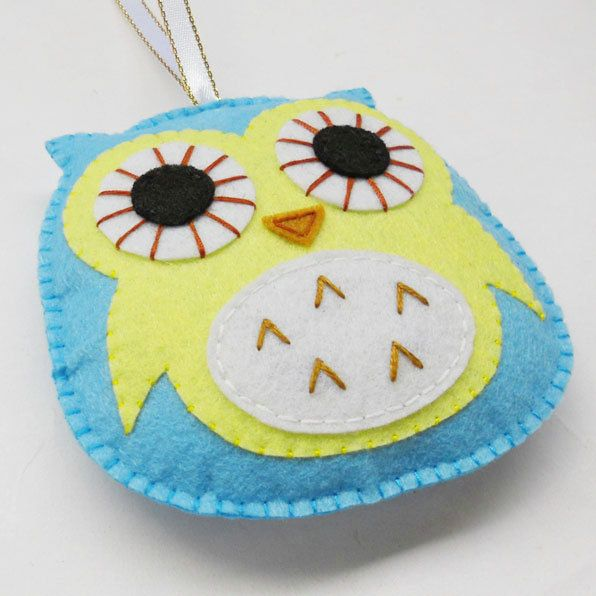 Felt owl ornament, handmade decoration, christmas ornament, available custom made different color. $4.40, via Etsy.