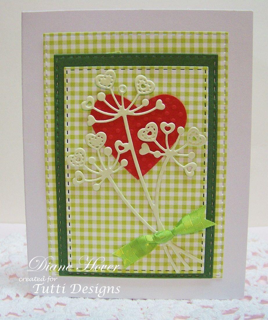 Tutti designs cutting die stitched heart flower stems dies or