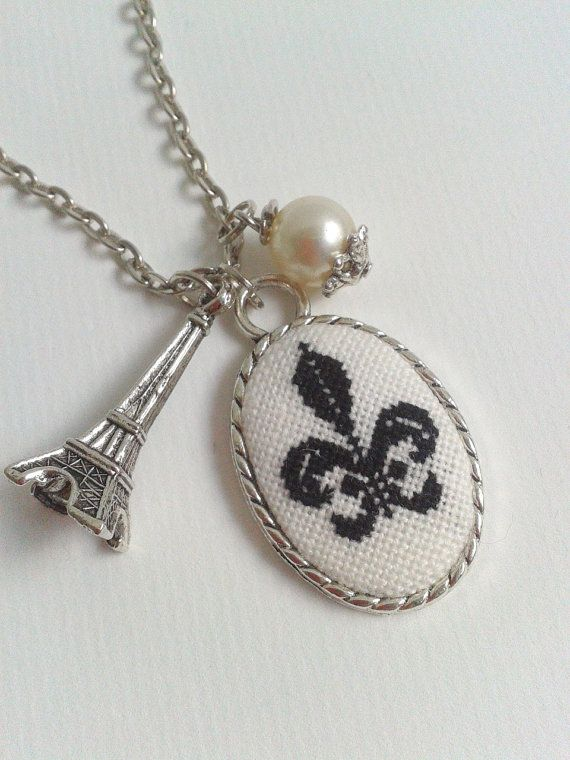 Fleur De Lis Hand Embroidered Pendant Necklace By Conebombom