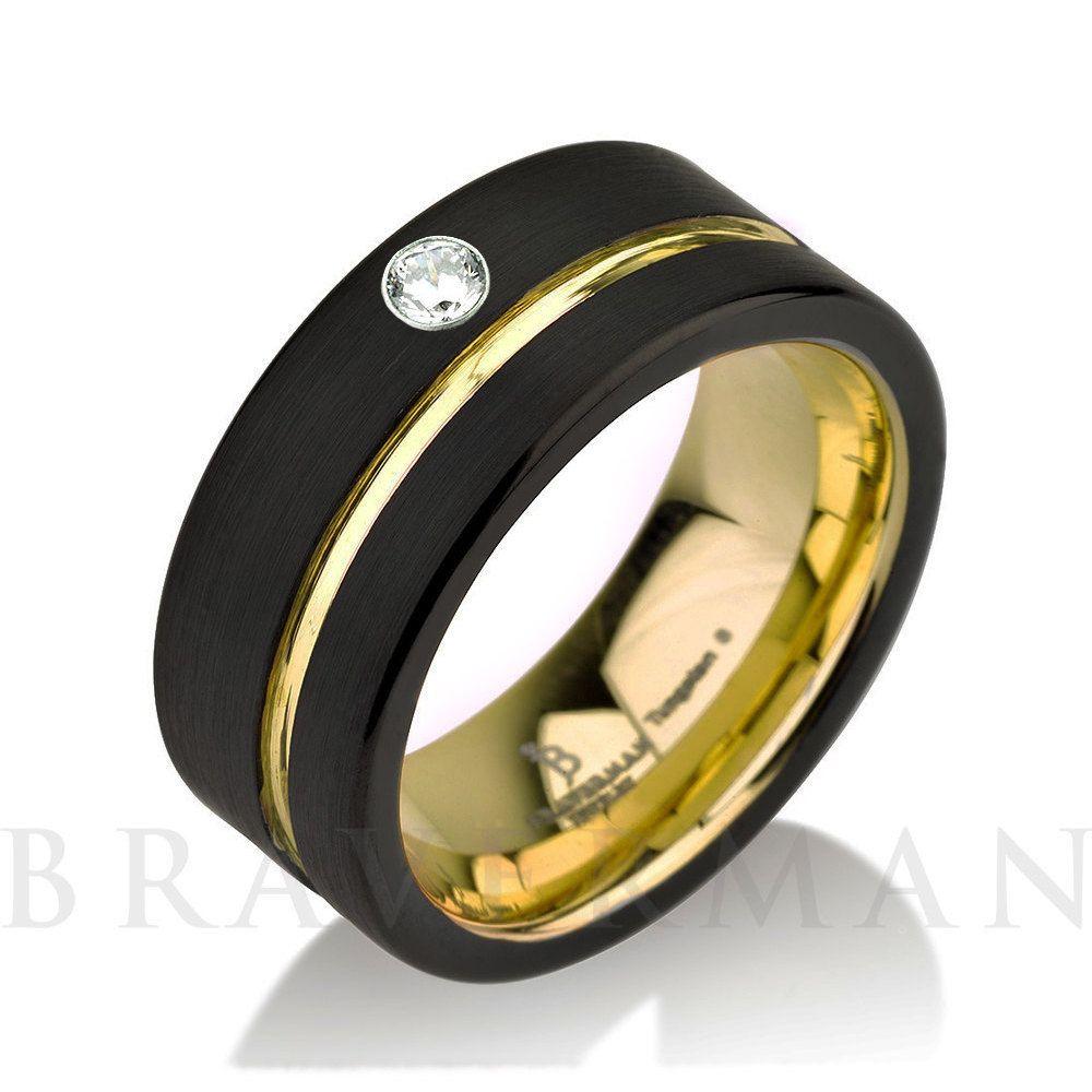 Black Tungsten Ring 14k Yellow Gold White Diamond Mens Wedding Band