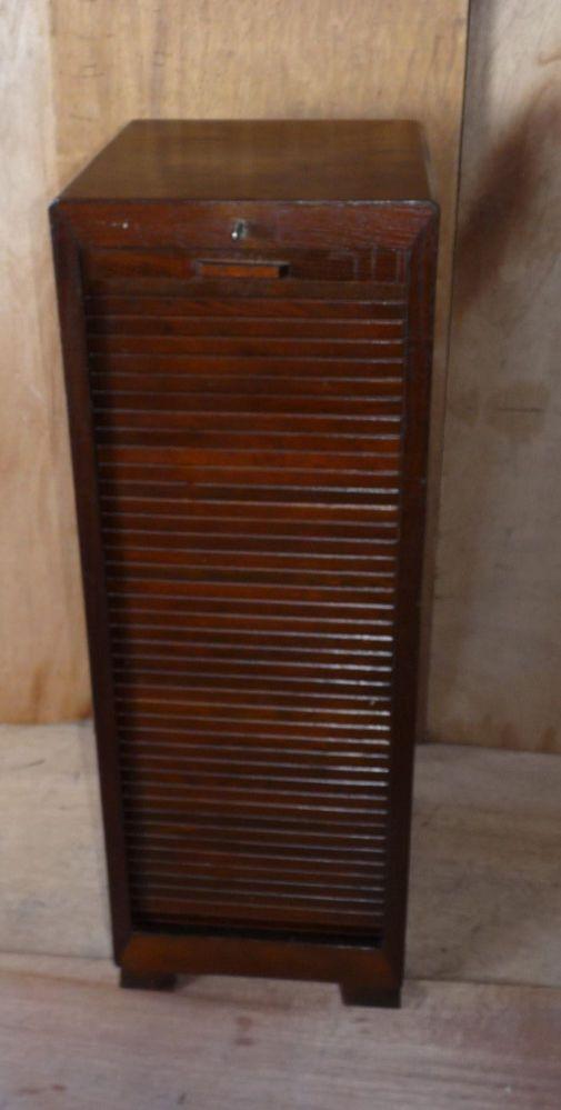 Vintage Tambour Door Roll Front Music Cabinet Oak Veneer The Is So Cool! I  Want This!