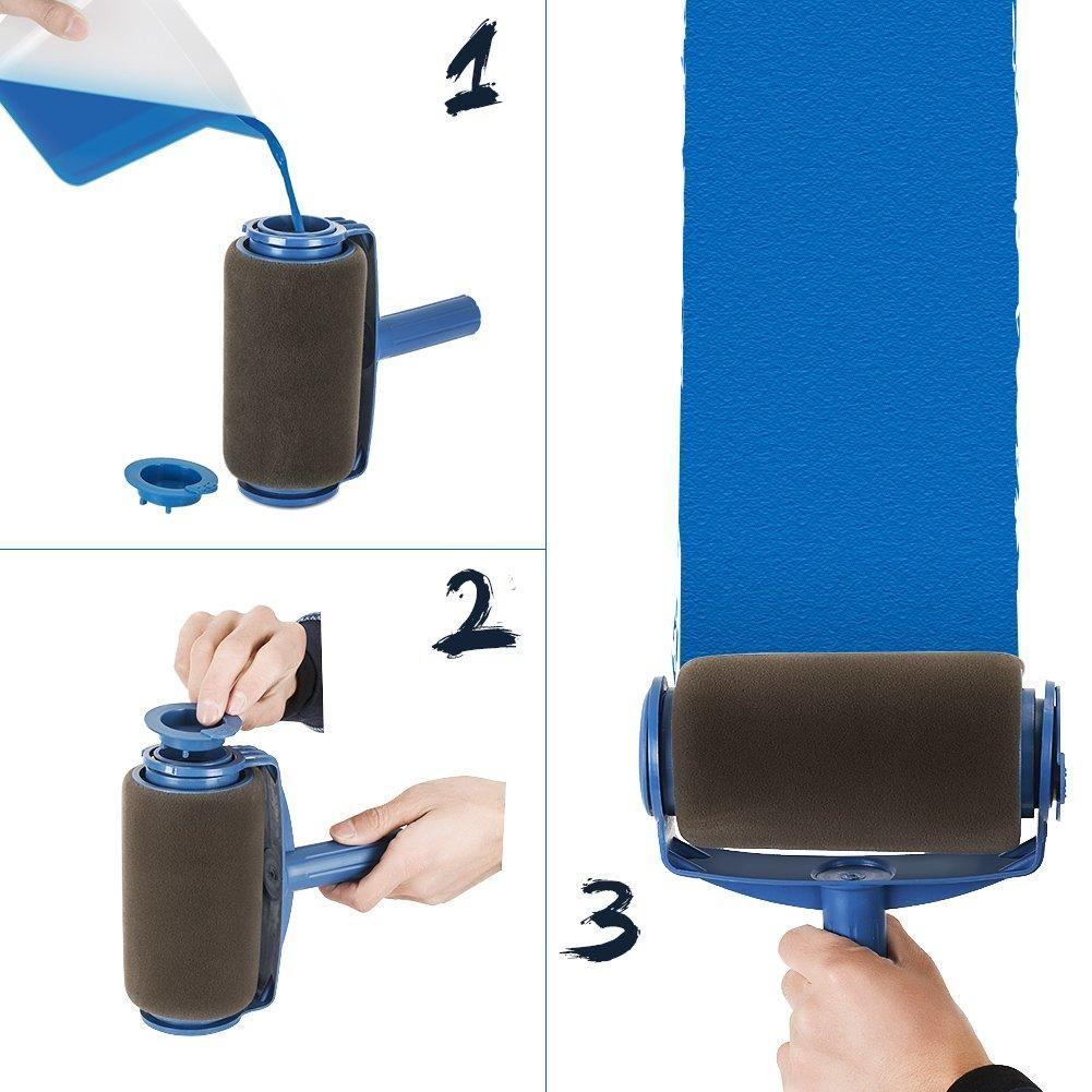 8 Pcs Set Paint Roller Set With Sticks Paint Roller Pro Decorate Runner Tool Painting Brush Set In 2020 Paint Roller Roller Brush Roller Set