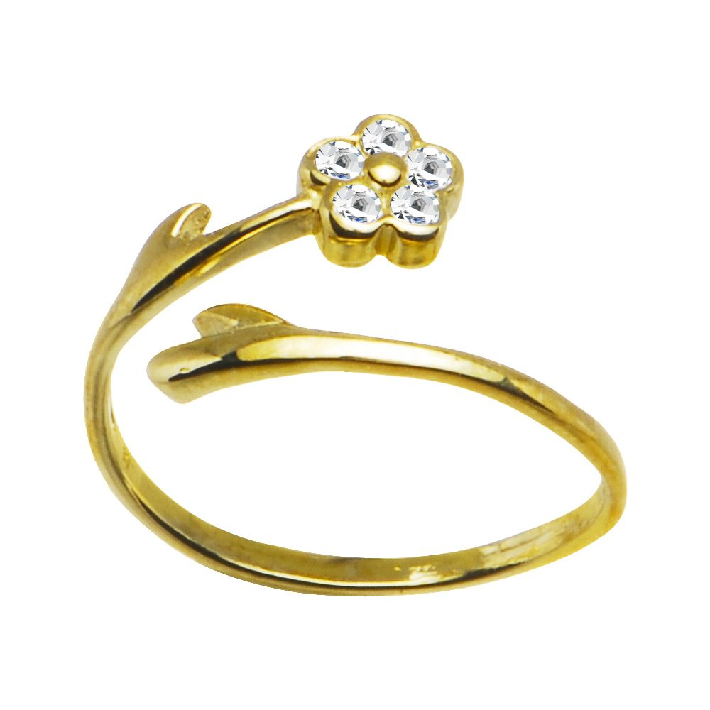 10k Yellow Gold Gem Flower Cubic Zirconia Toe Ring Gold Toe Rings Toe Rings Body Jewelry