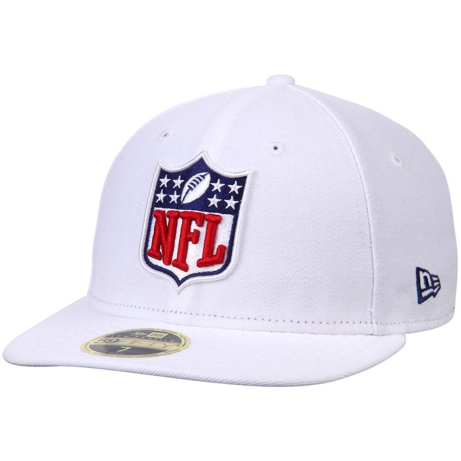 030576c7 Men's NFL Shield New Era White Logo Low Crown 59FIFTY Fitted Hat, Your  Price: $34.99