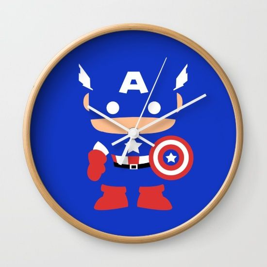 """Captain America - Available in natural wood, black or white frames, our 10"""" diameter unique Wall Clocks feature a high-impact plexiglass crystal face and a backside hook for easy hanging. Choose black or white hands to match your wall clock frame and art design choice. Clock sits 1.75"""" deep and requires 1 AA battery (not included)."""
