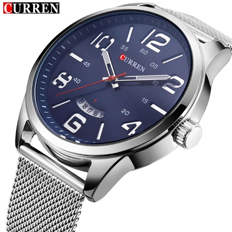 14.09$  Buy here - http://alij4m.shopchina.info/go.php?t=32708909736 - Original Curren Men Fashion Brand Luxury Analog Auto Date Quartz Watches Men Wristwatch Silver Mesh Strap Water Resistant Watch  #buyonline