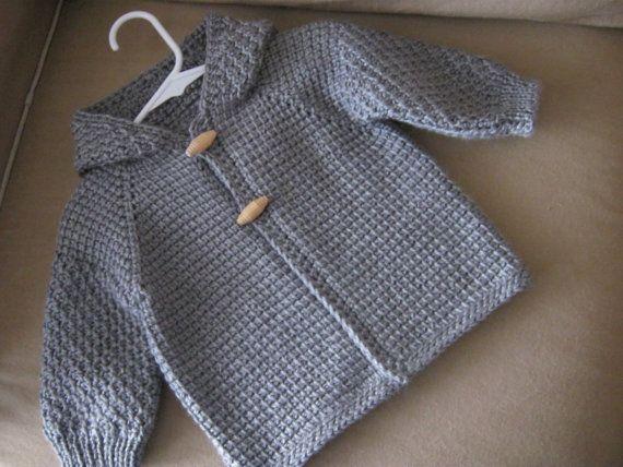 Heather Grey Boy Sweater with Hood. 6-12 Months in Tunisian Crochet ...
